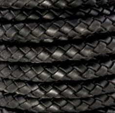 8mm Leather Braided Bolo Cord  Black  2 Feet by IGraphicSupplies, $9.50
