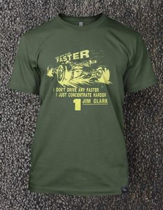 Inspired by one of the most outstanding drivers of the 60s, Jim Clark. The gentle Scot who swapped the twists and turns of the 1965 Monaco Grand Prix for the opportunity to race the Indy 500 - which he won in brilliant style. Printed using only water-based inks on an olive green, 100% Organic Cotton, EarthPositive® - Climate Neutral® Tee.