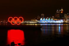 Vancouver Olympic 2010 Rings and Canada Place Night View by TOTORORO.RORO (Away), via Flickr
