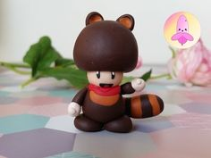 Mario Toad in tanuki suit polymer clay tutorial