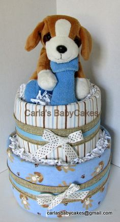 Puppy theme diaper cake - Boy diaper cake