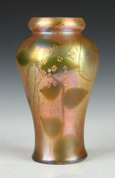 Tiffany Favrile ~ Millifiori flowers are rare and desirable decoration for Tiffany Vases ~ They're done by applying molten cane to the vase during its manufacture ~ Signed