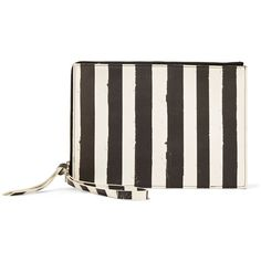 MM6 Maison Margiela - Striped Coated Faux Leather Clutch (160 CAD) ❤ liked on Polyvore featuring bags, handbags, clutches, black, striped purse, faux leather handbags, vegan handbags, vegan leather purses and vegan purses