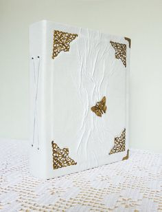 Wedding Photo Album 5x7 White Leather Album Wedding by AnnaKisArt