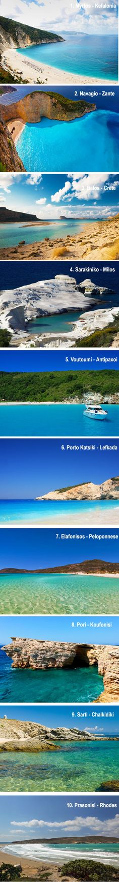 Top 10 Exotic Beaches in Greece Any of these would do! Beautiful!