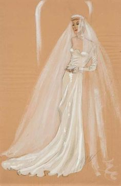 Claudette Colbert's wedding dress designed by Irene  The Palm Beach Story (1942) / Paramount Pictures Directed By: Preston Sturges Starring: Claudette Colbert, Joel McCrea, Mary Astor, & Rudy Vallee