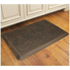 Small Brown Kitchen Floor Mats With Flower Design Above Wooden Floor Under White Wood Kitchen Cabinet With Storage The Application of Kitchen Floor Mats Kitchen cushioned beautiful coffee elegant best and runners anti stress Flooring, Decor, Kitchen Flooring, Kitchen Mats Floor, White Wood Kitchens, Floor Mats, Wood Kitchen Cabinets, Brown Kitchens, Rustic Kitchen