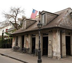 Lafitte's Blacksmith Shop, The oldest bar in the United States that has been open since the 1700's. In the New Orleans French Quarter.
