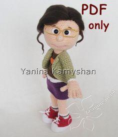Margo, crochet doll, amigurumi, pdf by jasminetoys on Etsy https://www.etsy.com/listing/228926235/girl-in-glasses-crochet-doll-amigurumi