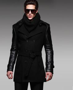 2-TONE LEATHER SLEEVES PEA COAT IS COOL!!!!!!!!!!!