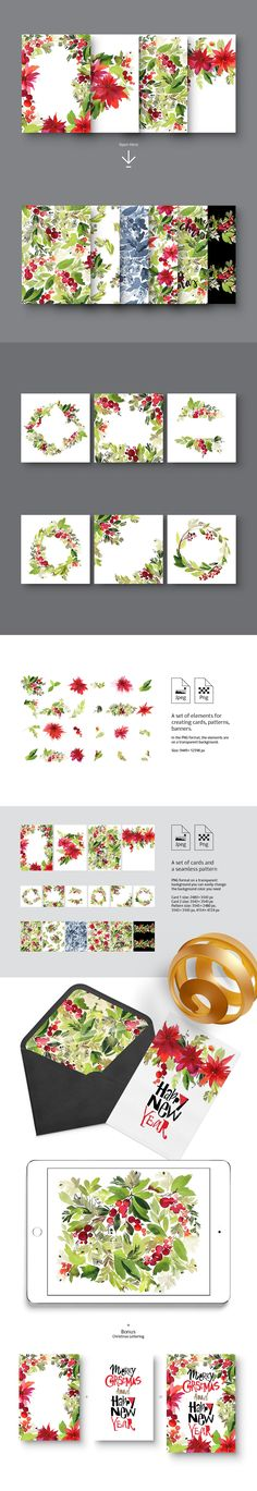 Set of Christmas watercolors by Coshe on @creativemarket