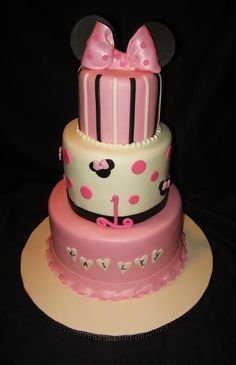 Minnie Mouse was the inspiration behind this three-tiered 1st birthday cake. Description from cakesavvycakes.blogspot.com. I searched for this on bing.com/images