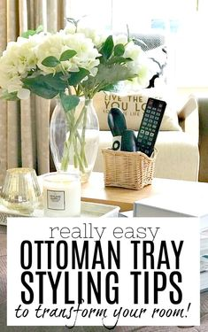 Create a gorgeous living room focal point with these ottoman tray styling ideas. A tray on an ottoman (or footstool or coffee table) can really enhance a rooms interior design, and this article will g Ottoman Decor, Ottoman Footstool, Large Ottoman Tray, Trays On Ottomans, Square Ottoman, Tray Styling, Styling Tips, Interior Design Colleges, Serving Tray Decor