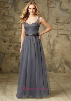 Light Slate Grey Column V-Neck Floor Length V-Shape Bridesmaid Gowns With  Sash f730ed2dd813