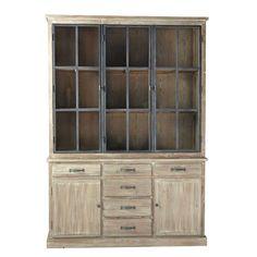 meuble double vitrine style industriel brun blanchi - cocto - les, Moderne
