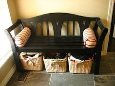 Bench With Baskets Underneath Ikea Spray Painted Black Basket