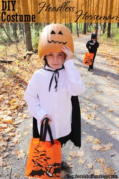 DIY Headless Horseman Costume from blog.thecelebrationshoppe.com ~ fun with Funkins and @Jo-Ann Stores