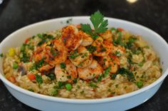 Shrimp & vegetable risotto.  The Rolls-Royce of rice dishes #risotto #pinotnoir #bouchaine
