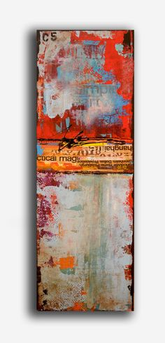 Painting ABSTRACT ART mixed media on wood. via etsy.