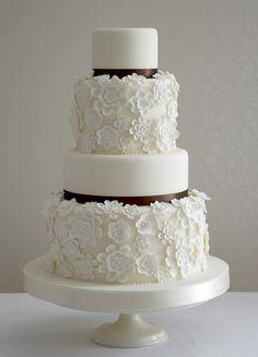 Gorgeous white and black wedding cake