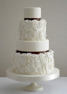 Gorgeous white and black wedding cake