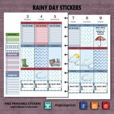 FREE Rainy Day Planner Stickers Printable BY* Sepiida Prints