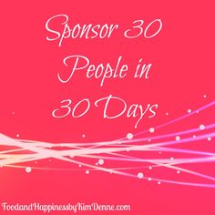 Sponsor 30 People in 30 Days... Do you REALLY want to grow your Direct Sales Team? If so, it's time to get outside of your comfort zone and make a huge effort to reach out to new people!To help you, I've pulled together a list of idea starters to help you Sponsor 30 People in 30 Days! http://www.foodandhappinessblog.com/sponsor-30-people-in-30-days