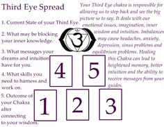 Third eye spread #Tarot #Spread found on Pinterest. COMING SOON! Over 300 tarot spreads (videos and more) Visit: http://www.TarotAcademy.org