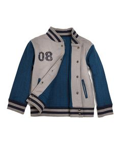 Love this Blue & Gray Darius Organic Letter Jacket - Toddler & Boys by Soft Clothing on #zulily! #zulilyfinds