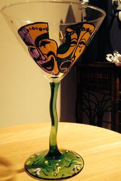 Mardi Gras' margarita glass