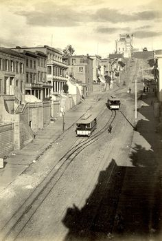 Telegraph Hill, San Francisco c.1890 - The San Francisco cable car system is the world's last manually operated cable car system. An icon of San Francisco, California, the cable car system forms part of the intermodal urban transport network operated by the San Francisco Municipal Railway. Of the twenty-three lines established between 1873 and 1890,[4] three remain : two routes from downtown near Union Square to Fisherman's Wharf, and a third route along California Street.