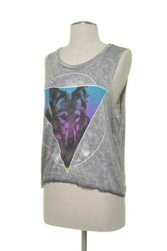 Wolf Triangle Muscle Tank Color: Grey, Size: Small