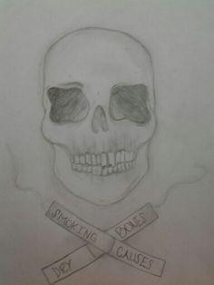 彡Smoking causes dry bones彡 #skull #dontsmokekids #art