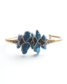 blue crystal wire cuff~