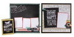 A couple layouts and a card idea using the My Mind's Eye Chalk Studio II Colletion - created by @Crafts Direct
