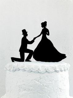 Wedding cake topper silhouette от CakeTopperDesign на Etsy