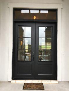 Double Front Entry Doors, Front Doors With Windows, Door With Window, Double Patio Doors, Black Exterior Doors, Black Entry Doors, Entrance Doors, House Front Door, Glass Front Door