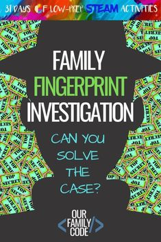 Family Fingerprint Investigation STEAM Activity - Education and lifestyle Science Activities For Kids, Steam Activities, Science Projects, Summer Activities, Kid Science, Stem Projects, Camping Activities, Camping Tips, Science Experiments