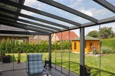 Aluminium Terrassenüberdachung mit Glaseinsatz-Ein Modell für den Wandanbau