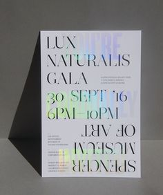 The clear holographic foil of Design Ranch's invitation enticed guests to the Spencer Museum of Art's reopening gala. Web Design, Book Design, Print Design, Typography Layout, Typography Poster, Lettering, Holographic Print, Holographic Foil, Communication Art