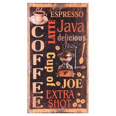 Retro-style wall sign with a coffee motif.    Product: Wall signConstruction Material: WoodColor: Mult...