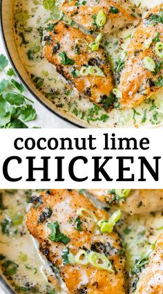The creamiest COCONUT LIME CHICKEN you'll ever try! The chicken is coated in cilantro, then pan-seared and coated in a creamy (and healthy!) coconut sauce, then baked to perfection. It's an easy 30 minute dinner recipe the whole family will love! #chicken #coconutlimechicken #coconutchicken #bakedchicken Coconut Lime Chicken, Coconut Sauce, Quick Recipes, Healthy Dinner Recipes, Vegetarian Recipes, Paleo Food, Chicken Skillet Recipes, One Skillet Meals, Quinoa