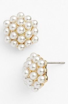 Anne Klein Faux Pearl Cluster Stud Earrings available at Pearl Jewelry, Jewelry Box, Jewelry Accessories, Fashion Accessories, Fashion Jewelry, Jewellery, Anne Klein, Bling Bling, Pearl And Lace