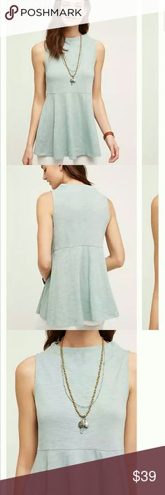"""Anthropologie Mockneck Sway Tank By Sunday in Brooklyn for Anthropologie   In Moss color.  Polyester-cotton knit Peplum silhouette Hand wash Imported 28.5"""" long Anthropologie Tops"""