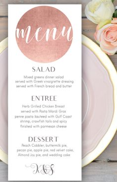 Rose gold wedding menu card Printable wedding menu Personalized wedding menu…
