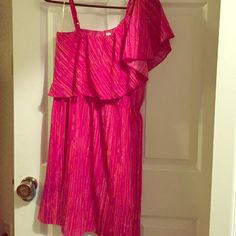 Pink/orange dress Pink/orange one shoulder dress Indulge Dresses One Shoulder