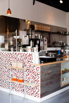 Makai Coffee | Long Beach, CA Love the mosaic detail on the counter