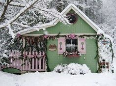 lovely xmas decorated garden cottage