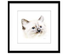 Cat Painting, White Kitten Art Instant Download, Printable Poster, Cat Lovers Art, Wall Art, Nursery Art