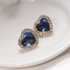 $3.48 Pair of Chic Diamante Heart Shaped Blue Stud Earrings For Women